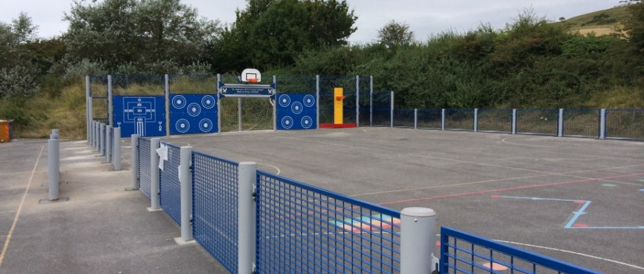 "Groundplay Limited successfully extended this MUGA in Weymouth. *Please note that some of the photographs may show the project still ""Under Construction"". Such pictures are intended to show how our installation process works and do not necessarily reflect nor illustrate the quality of the completed project."